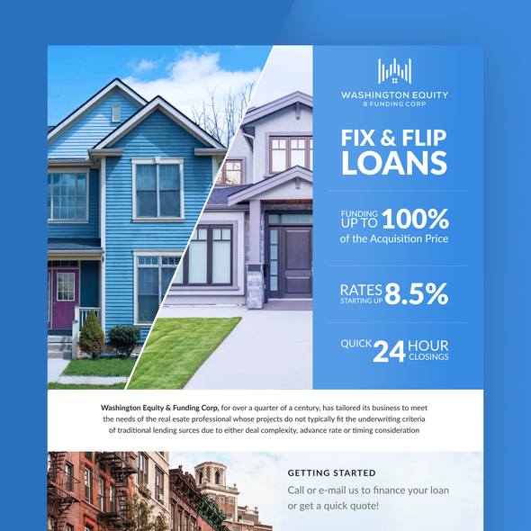 Flip design with the title 'Real estate mortgage Loans'