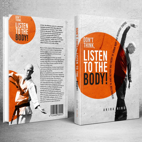 Martial arts design with the title 'Book Cover for Don't Think, Listen to the Body!'
