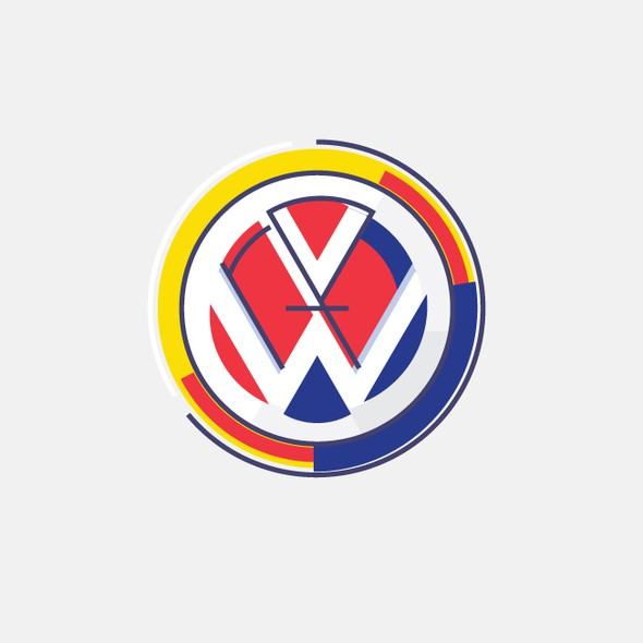 VW design with the title 'Community Contest | Reimagine a famous logo in Bauhaus style'