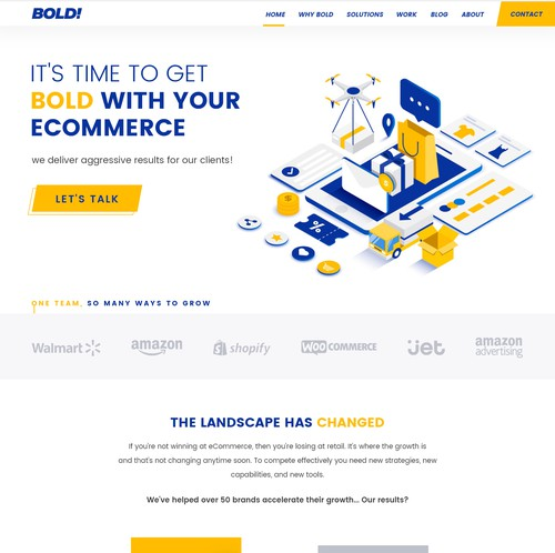 Marketing website with the title 'Bold web design for eCommerce Brand'