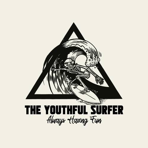 Surfer logo with the title 'The Youthful Surfer'
