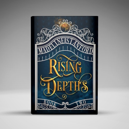 Golden book cover with the title 'Rising Depths Book Cover'