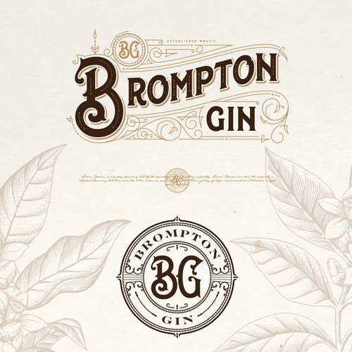 Bourbon logo with the title 'BROMPTON GIN LOGO PROPOSAL'