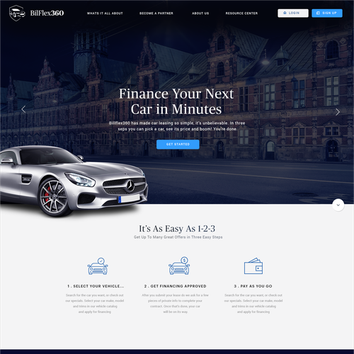 Marketplace design with the title 'Car Leasing Website'