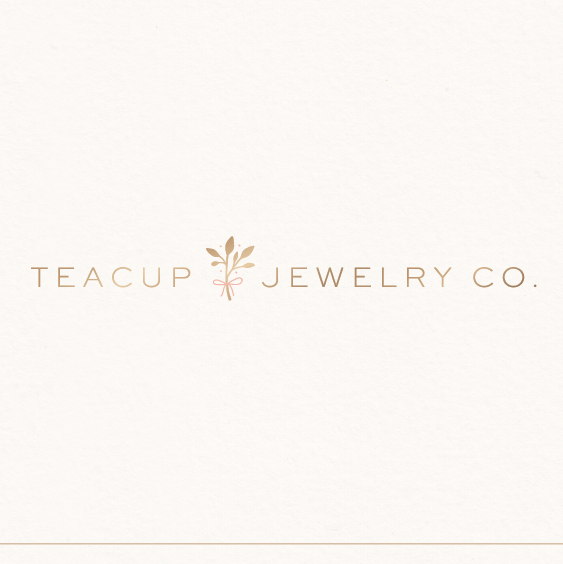 Tiny design with the title 'teacup jewelry co.'