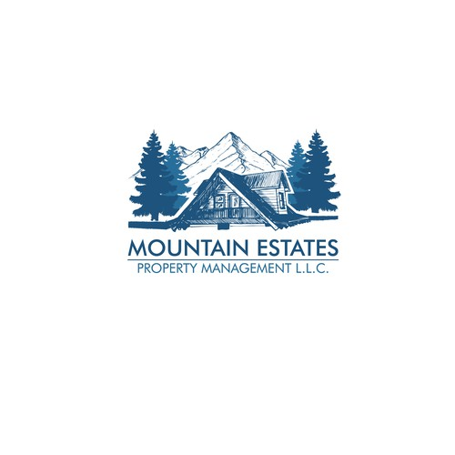 Navy blue design with the title 'Mountain Estate logo'