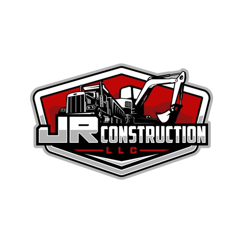 Backhoe logo with the title 'Winner of JR Construction LLC Contest'