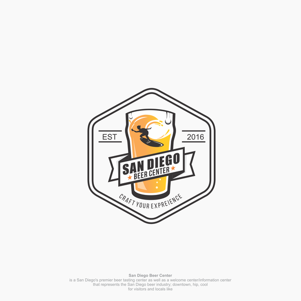 Surfer logo with the title 'Hip and Cool logo concept for Beer Center'