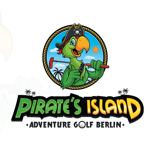 Pirate logo with the title 'Adventure Golf in Berlin - Logo'