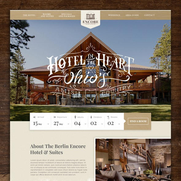 Hotel website with the title 'Berlin Encore Hotel & Suites'