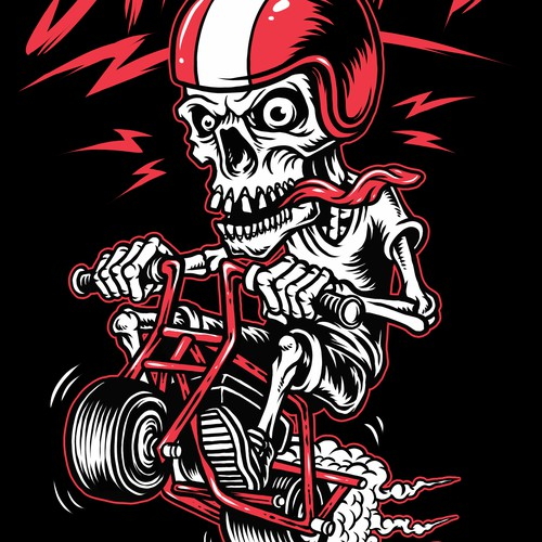 Hot rod design with the title 'Minibike themed t-shirt design in old school hotrod style graphic'
