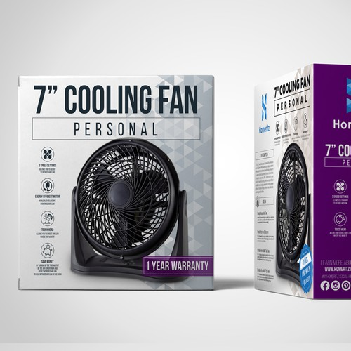 Creative packaging with the title 'Cooling Fan Box Design'