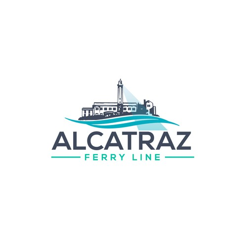 Ferry logo with the title 'Logo design Ferry to Alcatraz Island'