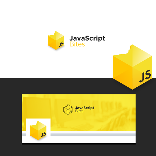 Black and yellow logo with the title 'Logo For JavaScript Bites'