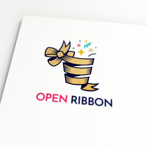 Ribbon logo with the title ' A Fun Logo for OpenRibbon, a company that delivers packages with happy hours to offices to liven up their culture'