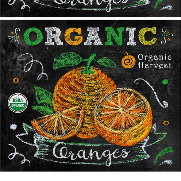 Pastel design with the title 'Label design for oranges fruit bags'