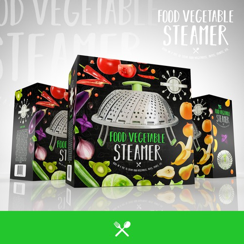 Fruit packaging with the title 'vegetable Steamer'