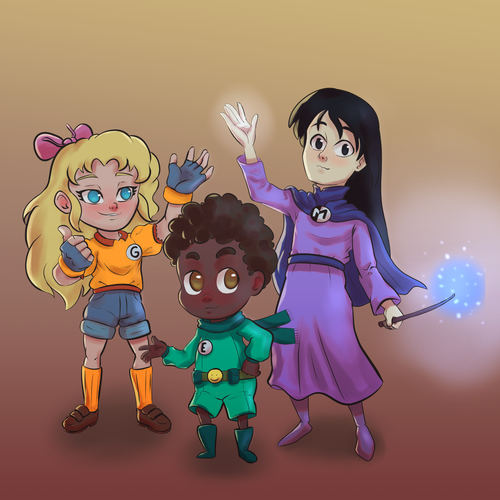 Girl power design with the title 'little heroes'