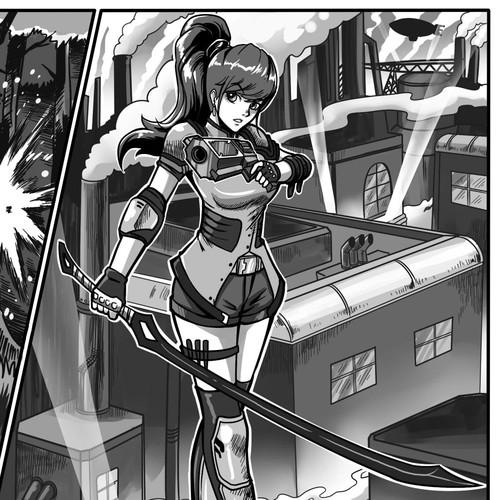 Manga design with the title 'Manga style steam punk'