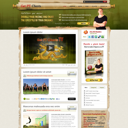 Personal trainer design with the title 'Personal trainer blog design'