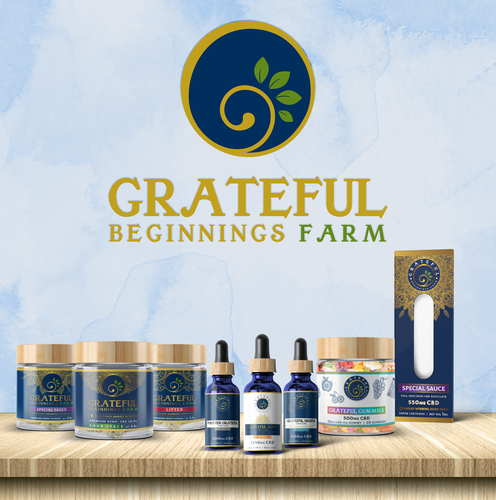 Hemp label with the title 'Grateful Beginnings Farm'