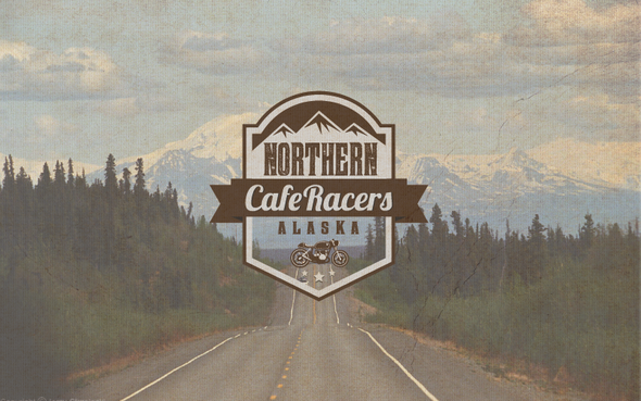 Racing logo with the title 'Motorcycle racer cafe '
