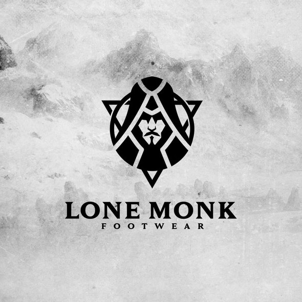 Sports apparel logo with the title 'Lone Monk Footwear'