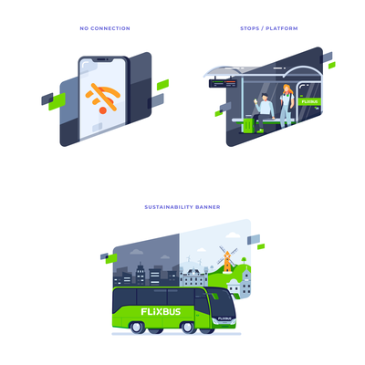 Illustrations Set for Flixbus