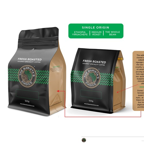 Coffee bar design with the title 'Coffee packaging'