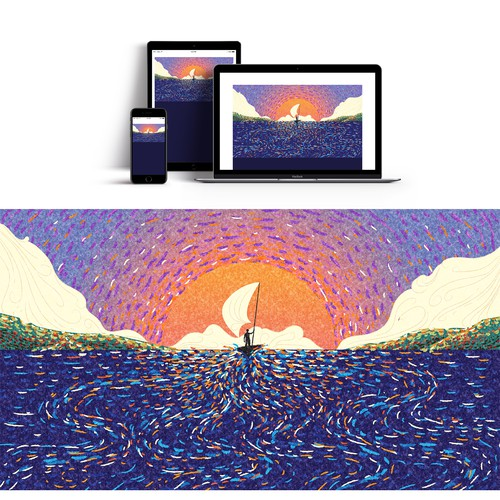 Mural illustration with the title 'The Hero Path Web Mural '