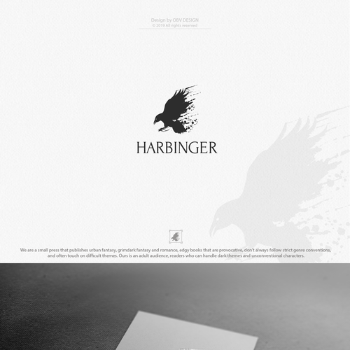 Raven design with the title 'Moody logo for the small publisher'