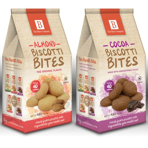 Biscuit packaging with the title 'Sophisticated paper bags for homemade cookies.'
