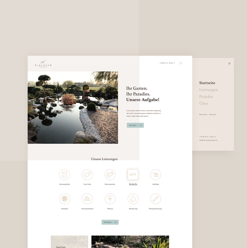 Pool design with the title 'Kirchner Webdesign'