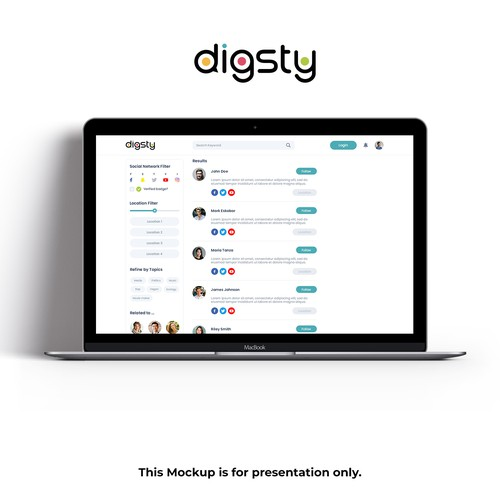 Search engine design with the title 'digsty'