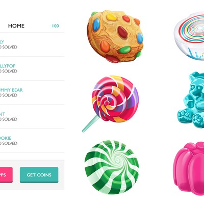 Six icon set for Logo Candy Game app