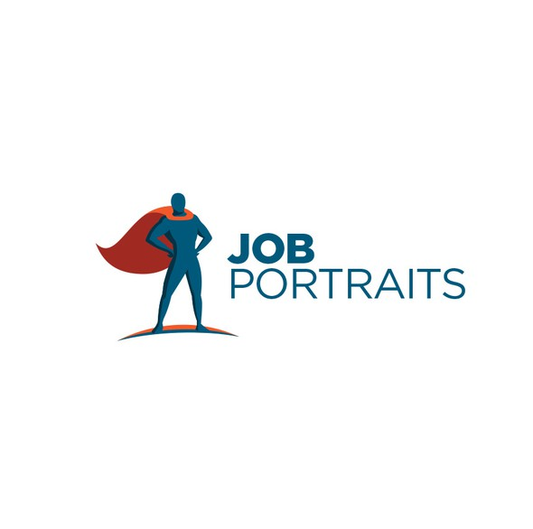 Superhero cape logo with the title 'Job Portraits'