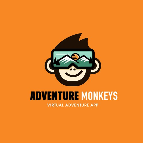 Funky logo with the title 'Bold + fun logo for a virtual adventure app'