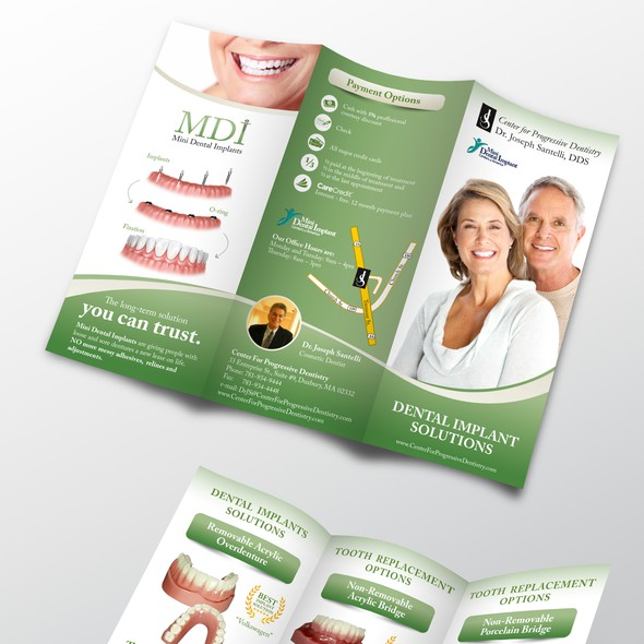 Implant design with the title 'Dental Implants Brochure'
