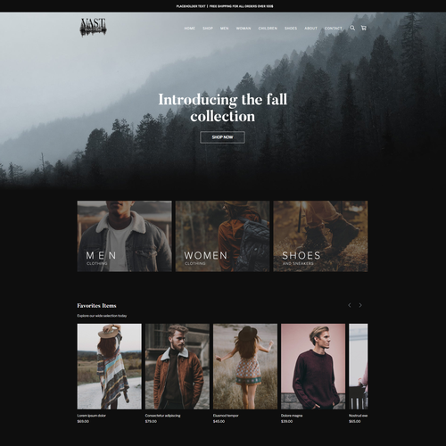 Weebly design with the title 'Vast Outfitters Online Store'