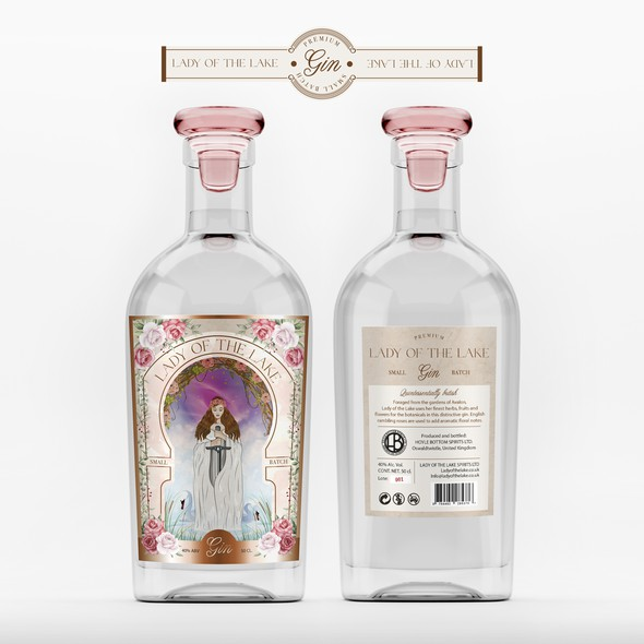 Gin design with the title 'Lady of the Lake - Premium Gin'