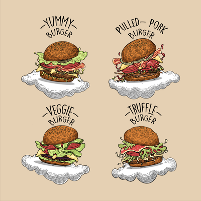 Hamburger illustrations for a restaurant