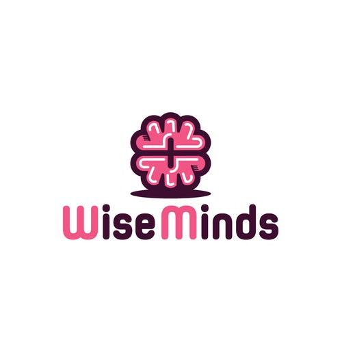 Support design with the title 'Wise minds eating disorder company ambigram logo initials'