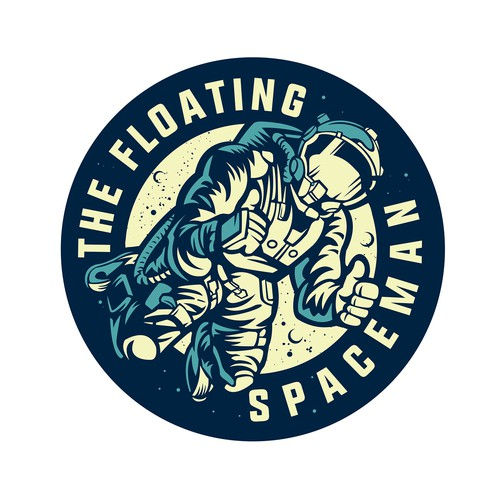 Astronaut artwork with the title 'floating spacemmen'