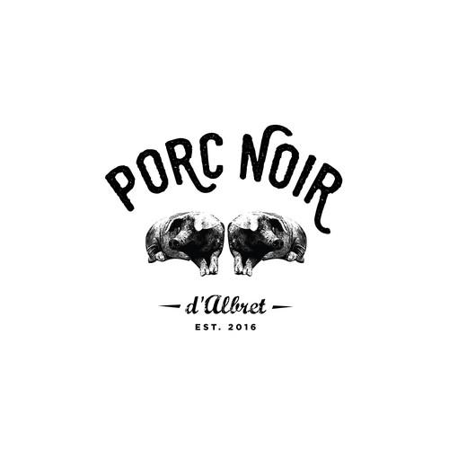 Pork logo with the title ' Un logo pour de la charcuterie de porc noir Gascon'