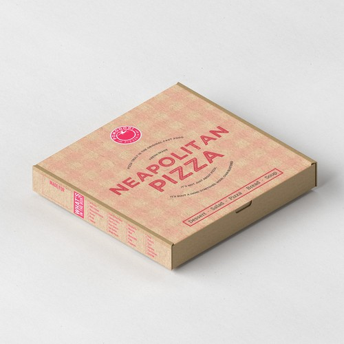 Pizza packaging with the title 'Fun, functional pizza box for Neapolitan pizzeria.'