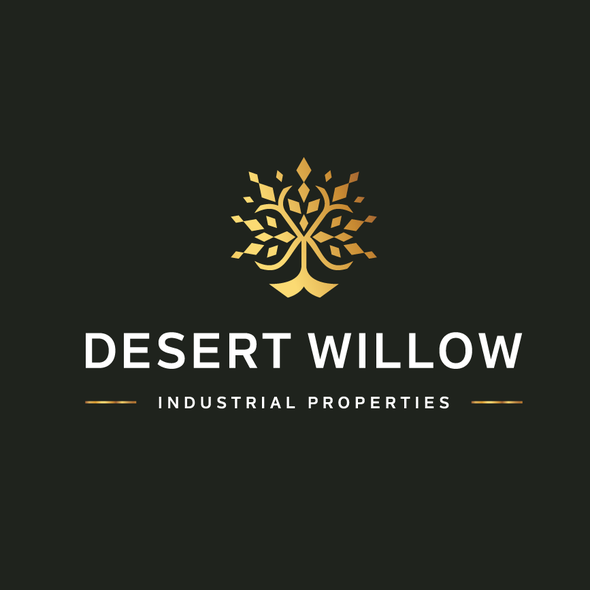 Gold tree logo with the title 'Desert Willow'