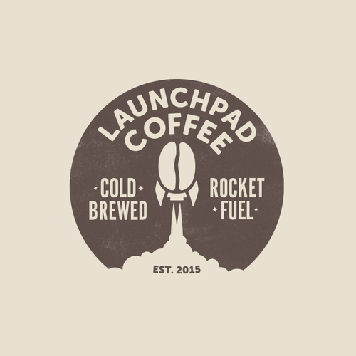 Coffee bean logo with the title 'Logo for Launchpad Coffee'