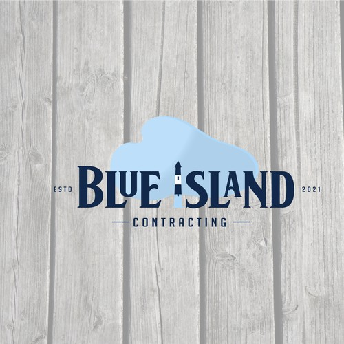Home builder logo with the title 'Blue island contracting logo'