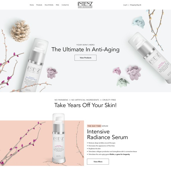 Women website with the title 'Be Unique! Create A Website For A New Intensive Face Serum'