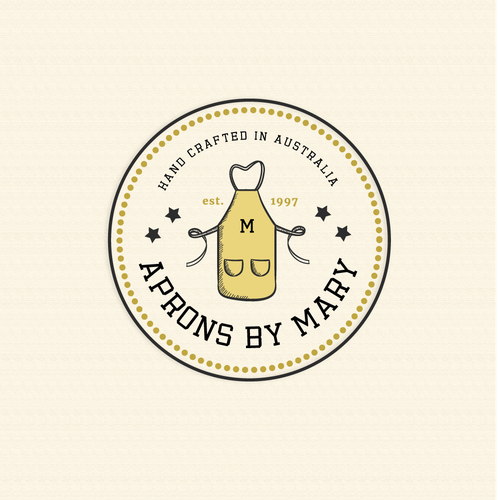 Apron logo with the title 'Classic Retro Logo for Aprons by Mary'